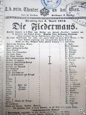 Титульный лист ксерокопии партитуры Иоганна Штрауса «Летучая мышь»